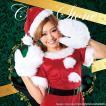 もこもこ手袋つき サンタクロース コスチューム クリスマス 衣装 レディース 女性用 赤色 ワンピース ミニ レッド 「キャンディサンタ Ladies」