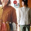 シャツ 長袖 レギュラーカラー プルオーバー ワンポイント 刺繍 綿麻  キャンバス 日本製 SAIL 夏  レディース