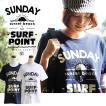 半袖 Tシャツ 「 SUNDAY SURF POINT 」 エコ インク プリント クルーネック くったり 柔らか コットン