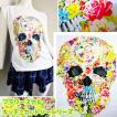 激安 キッチュカットソーシリーズフラワースカル花園髑髏トリックアート風骸骸骨どくろドクロタンクトップ風Tシャツ