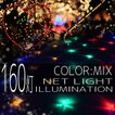 イルミネーションライト LED ネット 160球 ライト クリスマスツリー ハロウィン お祭り 電飾 1m×2m 赤 青 緑 黄 ミックス 延長用 IRMNM160