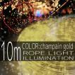 イルミネーションライト LED チューブ ロープ ライト クリスマスツリー ハロウィン お祭り 電飾 10m 300灯 金 シャンパンゴールド 延長用 IRMRWA10