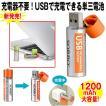 ダイレクトUSB充電単三電池1200(2本組み)(単三充電式電池,パソコン,PC.USBポート,USB接続,500回繰り返し充電可能,液漏れなし.充電アダプタ不要,1200mAh)