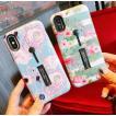 iPhone ケース スマホケース 携帯ケース iphoneX iphone8 8plus 7 7plus 6plus 落下防止スライドフィンガーベルト付き カバー フラミンゴ ボタニカル