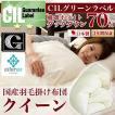 日本製 羽毛布団 クイーン 掛けふとん CILグリーンラベル ホワイトダックダウン 羽毛のためのアレルGプラス 3年保証