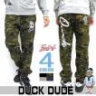 DUCK DUDE スエットパンツ。裏起毛素材。スケーターアヒルプリント。ストリート系やゆるカジスタイルに。レディースも使える。PTL-036