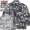 VISION 総柄シャツ メンズ 開襟シャツ 新聞柄 ヴィジョンストリートウェア 英新聞 総柄プリント オープンカラーシャツ VISION-172