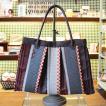 KUNIYA トートバッグ 和紙の畳と畳の縁 オリジナルバッグ 手提げ 國谷博子作 個性的 オンリーワン 手作り 中 赤 チェッカー ギフト 母の日