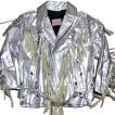 MEX TEX BY JOHNSONS・LA ROCKA! VINTAGE Silver Leather fringe Biker jacket Western ジョンソンズ フリンジ ライダース ジャケット ウエスタン シルバー・銀
