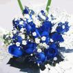 ブルーローズの花束 青いバラ20本&カスミ草、グリーン付きバラの花束 (生花)お祝い・記念日・誕生日・フラワーギフト