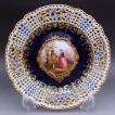 マイセン 皿 ワトー絵 透かし 飾り皿 アンティーク プレート 19世紀