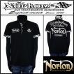 ポロシャツ/Norton/吸水速乾カモ使い3釦ポロシャツ/ブラック/Lサイズ/72N1203