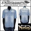 シャツ/Norton/ノートン/ユニオンジャック抜染5分袖ストレッチシャツ/ブリーチ/Lサイズ/72N1501