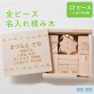 出産祝い 名入れギフト 全ピース名入れ積み木(12ピース+にぎにぎ太陽)日本製