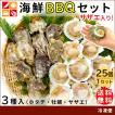 ホタテ 牡蠣 サザエ 殻付き 海鮮 BBQ セット ほたて 片貝 ヒモ 貝柱 カキ さざえ バーベキュー 貝 計25個 冷凍 送料無料