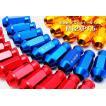 40mm レーシングナット/ホイールナット M12×P1.5(貫通タイプ) 20個 鍛造アルミ/アルマイト  赤/青/銀/黒/ゴールド5色選択 軽量