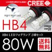 HB4 LEDフォグランプ/LEDフォグライト CREE 80W ホワイト/白 2球セット