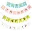 ガーランド 誕生日 飾り付け ピンク ブルー 格安 パーティー 女の子 男の子 ハッピーバースデー ペーパー 旗 全4色 装飾 かわいい おしゃれ