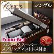 木製 大量 CYRUS Cyrus ライト サイズ ガス圧 ベッド 大容量 棚付き シングル 照明付き サイロス 収納ベッド 木製ベッド 深さラージ レギュラー丈 040107208