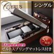 大量 CYRUS Cyrus ベッド ライト ガス圧 サイズ 大容量 棚付き サイロス 照明付き シングル 収納ベッド 深さラージ 木製ベッド モダンライト レギュラー丈