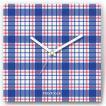 壁掛け時計 マドラスチェック ファブリクロック ファブリック ウォールクロック 掛時計 壁時計 かけ時計 スイープ とけい 青 ブルー