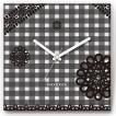 壁掛け時計 レースonチェック ファブリクロック ファブリック ウォールクロック 掛時計 壁時計 かけ時計 スイープ とけい 白黒