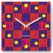 壁掛け時計 パッチワーク ファブリクロック ファブリック ウォールクロック 掛時計 壁時計 かけ時計 スイープ とけい 赤 青