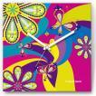 壁掛け時計 花と蝶 ファブリクロック ファブリック ウォールクロック 掛時計 壁時計 かけ時計 スイープ とけい フラワー バタフライ