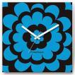 壁掛け時計 ブルーフラワー ファブリクロック ファブリック ウォールクロック 掛時計 壁時計 かけ時計 スイープ とけい 花 植物