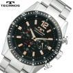 送料無料(沖縄・北海道は除く)TECHNOS(テクノス) クロノグラフ メンズ腕時計 ブラックIPベゼル 歴史と伝統を感じさせる重厚なデザイン!T1019TH