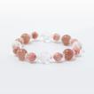 運気上昇 風水四神水晶彫りブレスレット ストロベリークォーツ・インカローズ メンズ/レディース