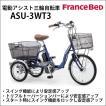 送料無料 テレビで話題 フランスベッド 電動アシスト三輪自転車 ASU-3WT3 スイング機能 オートライト リング錠 青