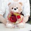 スワロフスキー付き プリザードフラワー プロポーズ ダイヤモンドローズ バラ 花束 くま ぬいぐるみ 誕生日