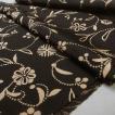 黒地 に 花 や 植物 のパターンが美しい 帯揚げ 小紋 紬 絹100% 送料無料 ob16722