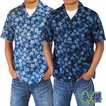 半袖シャツ アロハシャツ 藍染調絞り桜 衣櫻 和柄 和風 日本製 国産 青 ブルー SA1189 桜 サクラ