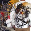 和柄Tシャツ 長袖Tシャツ【絡繰魂】月夜に闘鶏 刺繍 ロンT メンズ 黒 白