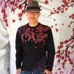 長袖Tシャツ 【錦】 桜家紋 ロンT 長袖 Tシャツ メンズ 白/黒