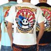 [錦]PANDIESTA JAPAN 和柄Tシャツ 半袖 tシャツ 熊猫酒造 パンダ メンズ Tシャツ 白/黒/水色