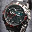 アナデジ デジアナ ダイバーズウォッチ風 メンズ腕時計 HPFS622-BKRD アナログ&デジタル 3気圧防水 ラバーベルト クロノグラフ カレンダー 送料無料