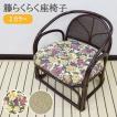 椅子 座椅子 チェア 肘掛付  らくらく籐座椅子 花柄 約49×50×52×30  和 モダン 天然素材 プレゼント KIA-01-HG 花柄