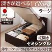 ベット ベッド セミシングルベッド 薄型ポケットコイルマットレス付き 縦開き (組立設置サービス付) 収納付き ガス圧式