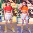 キッズ ダンス衣装 ヒップホップ ジャズダンス チア チアガール HIPHOP  ダンストップス  Tシャツ スカート 女の子 ステージ衣装 演出服 応援団 練習着