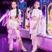 キッズ ダンス衣装  ヒップホップ  チアガール HIPHOP セットアップ  2点 子供  女の子 ガールズ  トップス  パンツ ズボン チア  ステージ 練習着 応援団