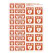AEDシール エレベーター用 片面印刷 AEDマーク 大10枚小27枚セット JIS規格準拠 ステッカー 日本AED財団監修