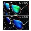 ティアドロップ サングラス ゴールドフレーム ブルー 蛍光 ミラーレンズ  UV400 紫外線カット 日焼け対策 男女兼用 メンズ レディース 2Color
