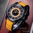 腕時計  ツートン アナログ メンズ クォーツ 時計 高品質 レザー ファッション時計 オシャレ ウォッチ ブラックイエロー