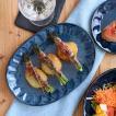 楕円皿 窯変紺 しのぎ minoruba(ミノルバ) プレート 皿 パスタ皿 ワンプレート 盛り皿 オーバル ネイビー ブルー 青 カフェ おしゃれ モダン シンプル