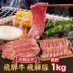 飛騨牛 & 飛騨豚 焼肉 用 焼き肉 セット 和牛 国産 合計 1kg ( 牛肉 カルビ 500g 豚肉 バラ 500g ) 送料無料 就職祝 入学祝 プレゼント