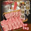 飛騨牛 & 飛騨豚 しゃぶしゃぶ すき焼き セット 和牛 国産 A5 A4 ギフト 合計 1kg ( 牛肉 肩ロース 500g 豚肉 ロース 500g ) 就職祝 入学祝 プレゼント