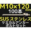 ケミカル アンカーボルト セット ステンレス SUS M10×120mm 100本 寸切ボルト1本 ナット2個 ワッシャー1個 Vカット 両面カット SUS304「取寄せ品」
